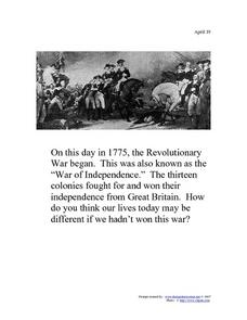 April 19, 1775 - The Revolutionary War Worksheet