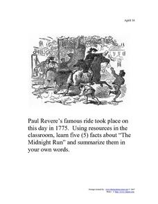 April 18, 1775: Paul Revere's Ride Worksheet