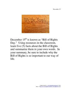 December 15 - Bill of Rights Day Worksheet
