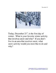 December 21 - First Day of Winter Worksheet