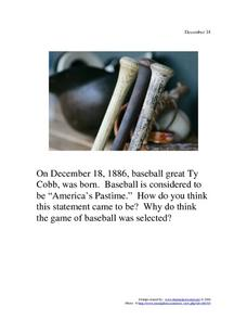 December 18, 1886 - Ty Cobb Worksheet