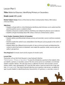 Historical Sources:  Identifying Primary or Secondary Lesson Plan