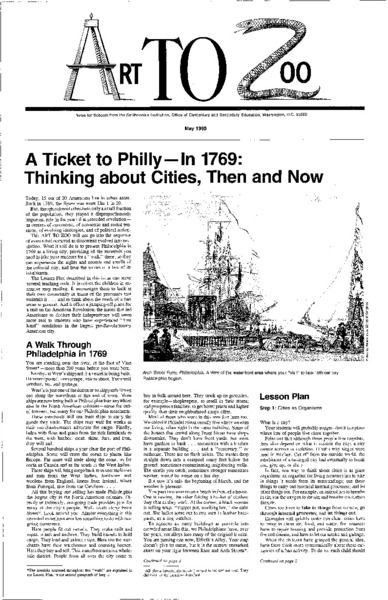 A Ticket to Philly—In 1769: Thinking about Cities, Then