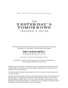 The Yesterday's Tomorrow Teacher's Guide Lesson Plan