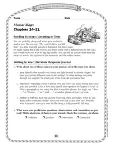Literature Response Journal:  Maniac Magee chapters 14-21 Lesson Plan