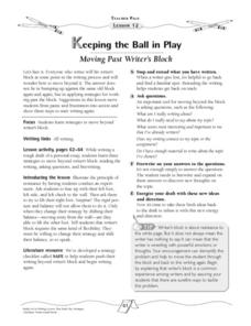 Keeping the Ball in Play:  Moving Past Writer's Block Lesson Plan