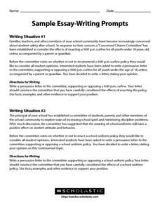 Sample Essay-Writing Prompts Worksheet