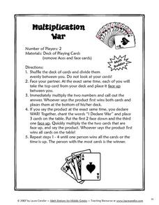 Multiplication War Lesson Plan