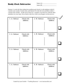 Buddy Check Subtraction Worksheet