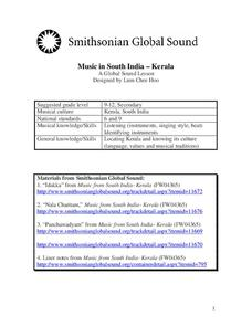 Music in South India-Kerala Lesson Plan