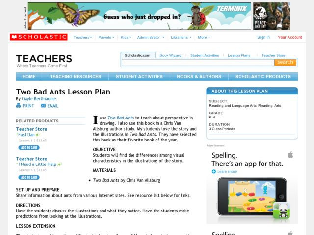 Two Bad Ants Lesson Plan Lesson Plan