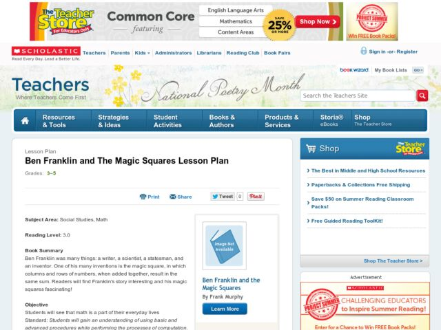 Ben Franklin and The Magic Squares Lesson Plan Lesson Plan