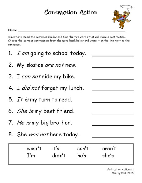 Contraction Action Worksheet