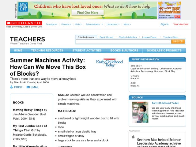 Summer Machines Activity: How Can We Move This Box of Blocks? Lesson Plan