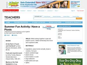Summer Fun Activity: Have a Picnic Lesson Plan
