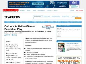 Outdoor Activities/Games: Pendulum Play Lesson Plan