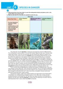 Species in Danger Worksheet