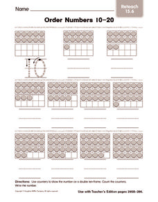 Order Numbers 10-20: Reteach Worksheet