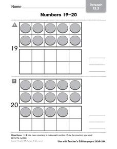 Numbers 19-20: Reteach Worksheet