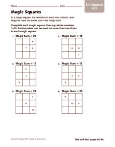 Magic Squares: Enrichment Worksheet