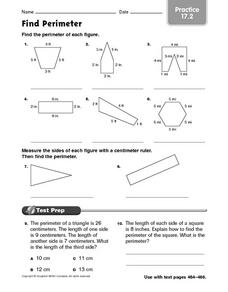 Find Perimeter Practice 17.2 Worksheet