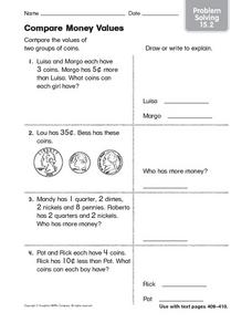 Compare Money Values: Problem Solving 15.2 Worksheet