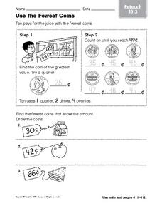 Use the Fewest Coins: Reteach Worksheet