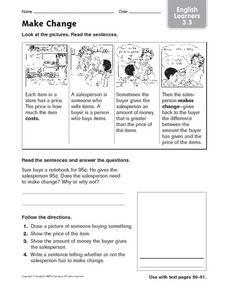 Make Change: English Learners Worksheet