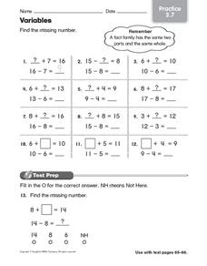 Variables: Practice Worksheet