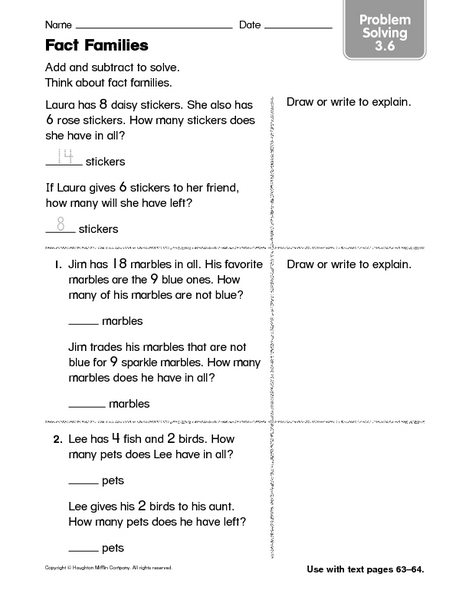 Fact Families Problem Solving Worksheet For 2nd 3rd