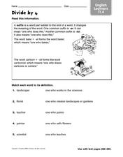 Divide By 4- English Language Learners - Suffixes Worksheet