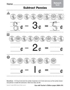 Subtract Pennies Worksheet