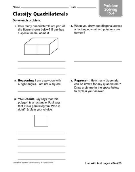 Classify Quadrilaterals Problem Solving Worksheet For 4th