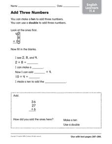 Add Three Numbers: English Learners Worksheet