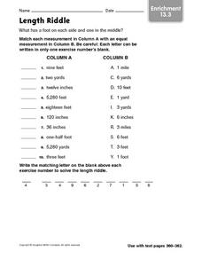 Length Riddle - Enrichment 13.3 Worksheet