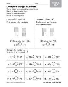Compare 3 Digit Numbers Worksheet