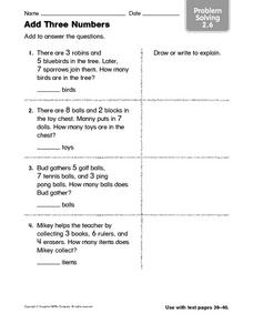 Add Three Numbers - Problem Solving 2.6 Worksheet