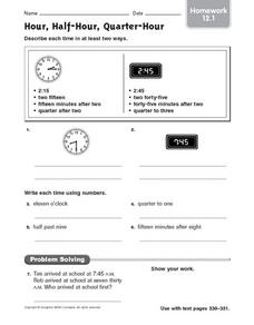 Hour, Half-Hour, Quarter-Hour: Homework Worksheet