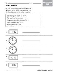 Start Times: Time Activity Worksheet