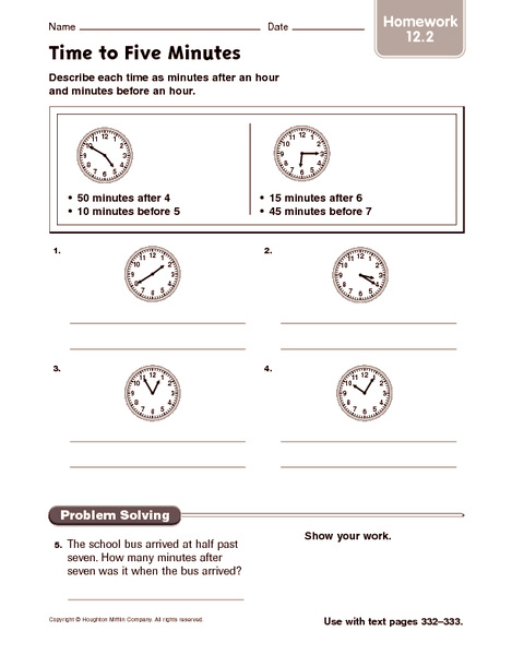 Time to Five Minutes - Homework Worksheet