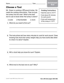 Choose a Tool Worksheet