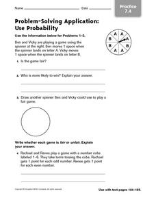 Problem Solving: Probability Worksheet