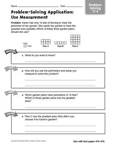 Use Measurement - Problem-Solving 17.5 Worksheet