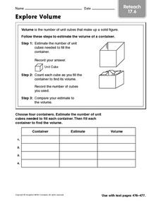 Explore Volume - Reteach 17.6 Worksheet