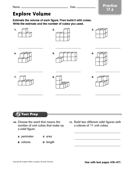 Explore Volume Practice 17 6 Worksheet For 3rd 5th