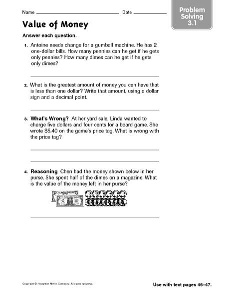 value of money problem solving 3 1 worksheet for 2nd 3rd grade lesson planet. Black Bedroom Furniture Sets. Home Design Ideas