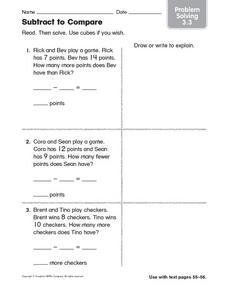 Subtract to Compare: Problem Solving 3.3 Worksheet