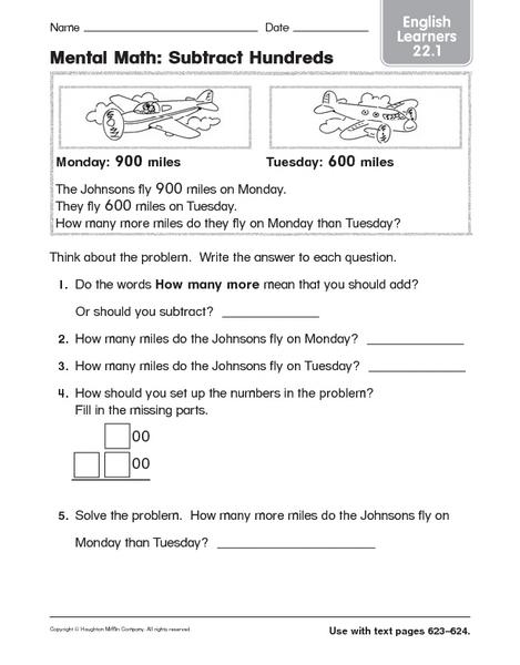 mental math subtract hundreds worksheet for 3rd grade lesson planet. Black Bedroom Furniture Sets. Home Design Ideas