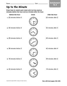 Up to the Minute: Enrichment 12.3 Worksheet
