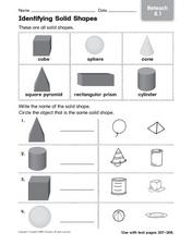 Identifying Solid Shapes - Reteaching Worksheet
